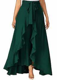 Premium Quality Rayon Solid Ruffle Skirt Palazzo Up To 55% Discount